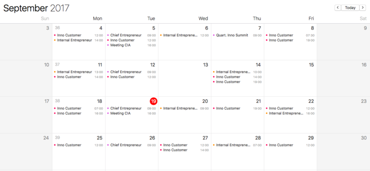 A CEO truly dedicated to innovation might have a schedule that looks like this.
